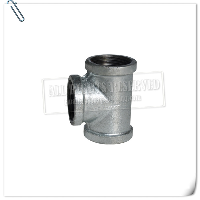 Tee, High Pressure Galvanized  Tee Fitting With Female Threaded Connections, Malleable Iron Pipe Fitting,  NPT Female, Galvaniz