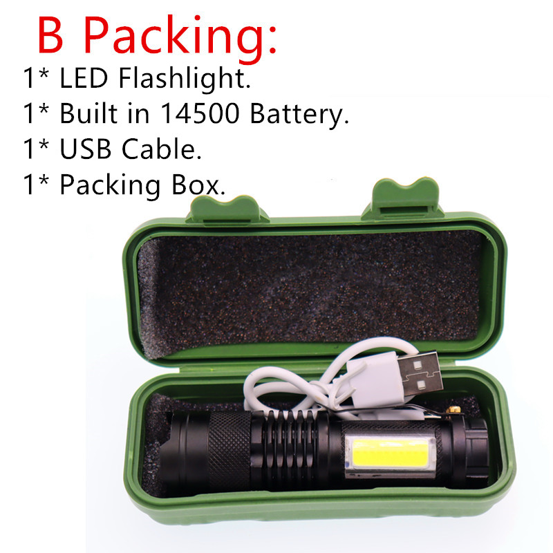 Image 5 - Mini Portable Working lamp XPE+COB LED Flashlight ZOOM Torch USB Charge +1* Built in 14500 Battery-in LED Flashlights from Lights & Lighting
