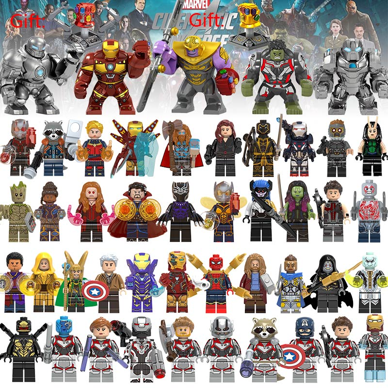46Pcs/lot Super Heroes Building Blocks lEGOED Marvel Avengers 4 Captain Wasp figures Hulk Spiderman Iron Man Thanos Endgame Toys title=