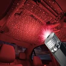 Kırmızı USB araba atmosferi ışık araba iç dekorasyon yıldız tavan projeksiyon ışığı araba ışık Bling araba kolye aksesuarı