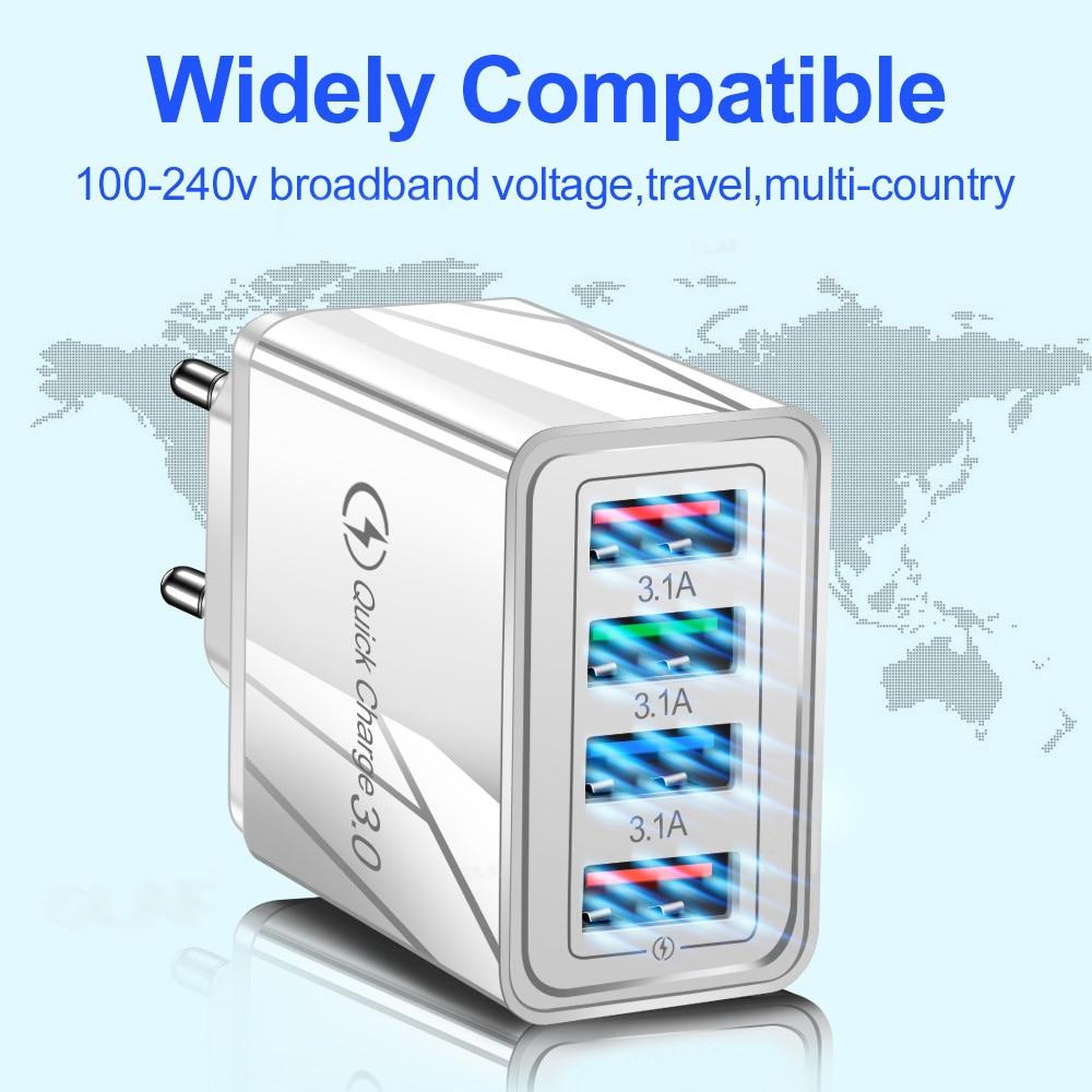 Carregador USB 3.0 EU/US, adaptador de tomada para celular Huawei Mate 30, tablet portátil, carga rápida turbo de parede 6