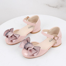 New Children Kids Girls Princess Sandals Wedding Shoes High Heels Leather Shoes Bowtie Dress Shoes girls roman sandals for kids princess shoes summer fashion high heels soft leather children open toe sandal dress wedding party