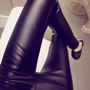 Leggings Pants Trousers Sexy Leather High-Waist Plus-Size Casual Fashion Solid -15