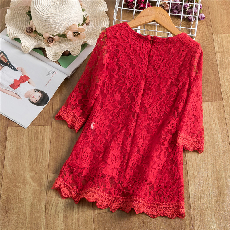 Red Summer Girls Dress For Kids Spring Half Sleeve  Princess Costume Lace Children Flower Embroidery Party Vestido Clothing 2