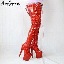 Sorbern holográfica virilha coxa botas altas mulheres 8 Polegada saltos altos extremos rendas até stripper pólo dança boot longo cores personalizadas
