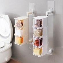 Utensílios de cozinha prateleira caixa nenhum furo parede pendurado rotativa sal liberação msg criativo tempero jar