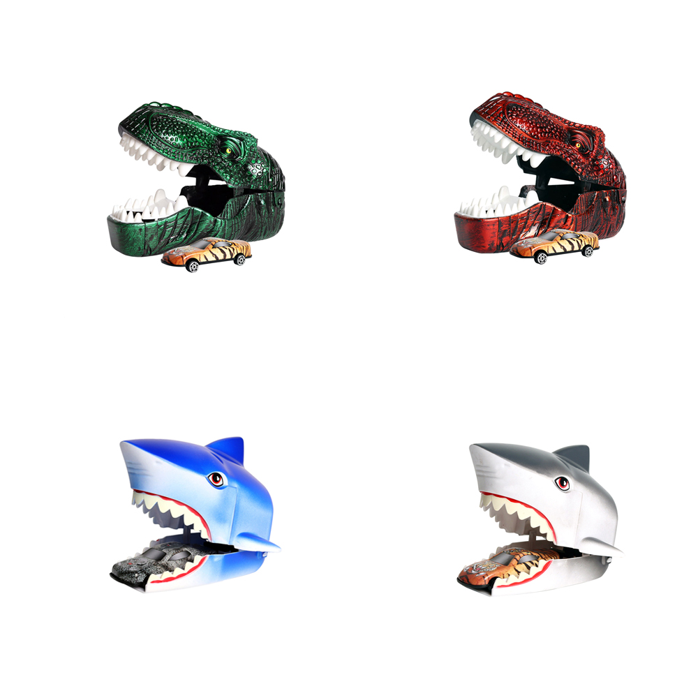 Children's Toy Imitation Dinosaurs Fish Head Press Ejection Small Car-In-Inertia Metal Car Animal Cars Model