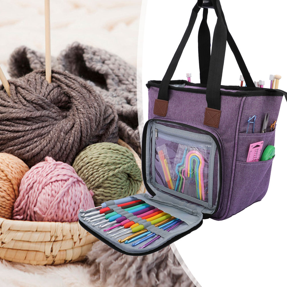 Oxford Cloth Multifunctional Dustproof Knitting Bag PortableYarn Tote Wool Crochet Hooks Knitting Needles Sewing Storage Bag