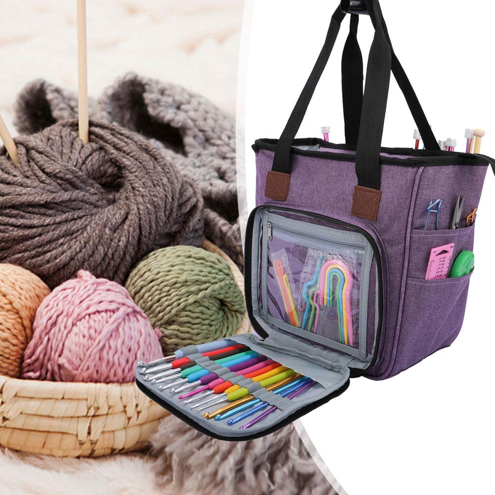 Oxford Cloth Multifunctional Dustproof Knitting Bag PortableYarn Tote Wool Crochet Hooks Knitting Needles Sewing Storage Bag