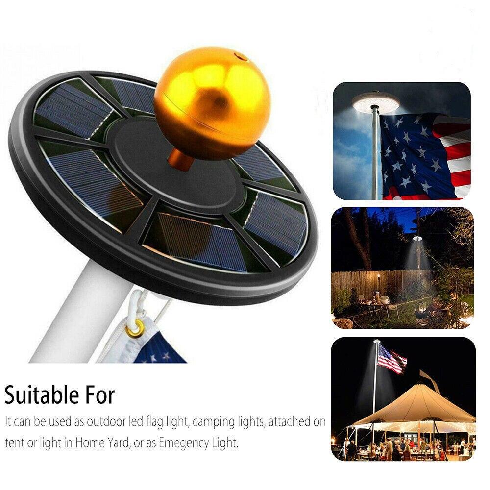 New Flag Pole 42LED Solar Powered Automatic Light Night Super Bright Flagpole