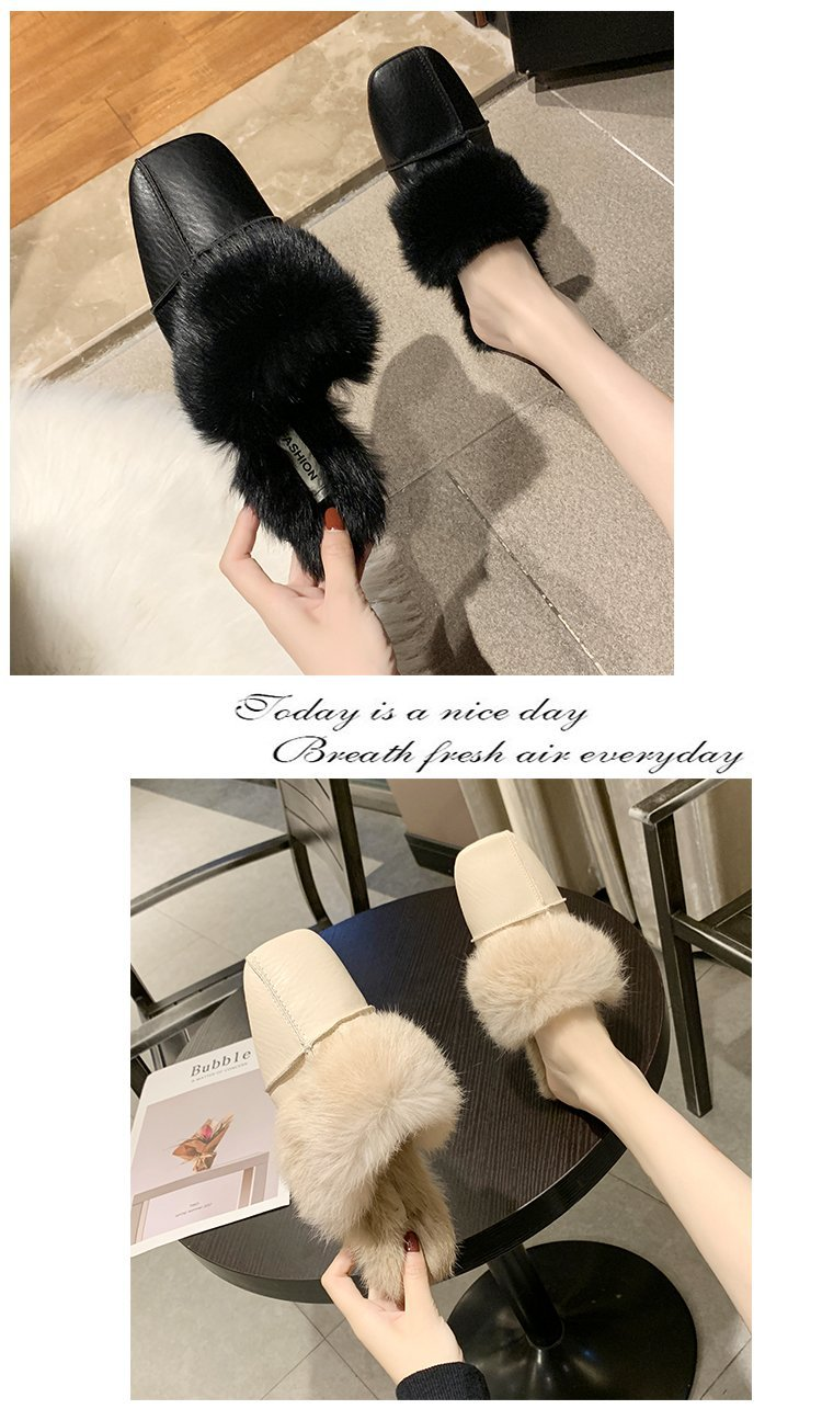square close toe fur mules shoes flats casual rabbit hair slingback lazy slippers handmade sewing pleated leather slides female 46