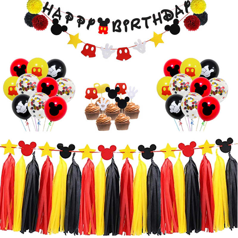 Mickey Mouse First Birthday Decorations Set Happy Birthday Banner Inspired Cake Toppers for Kids Favor Flag Decoration Gifts