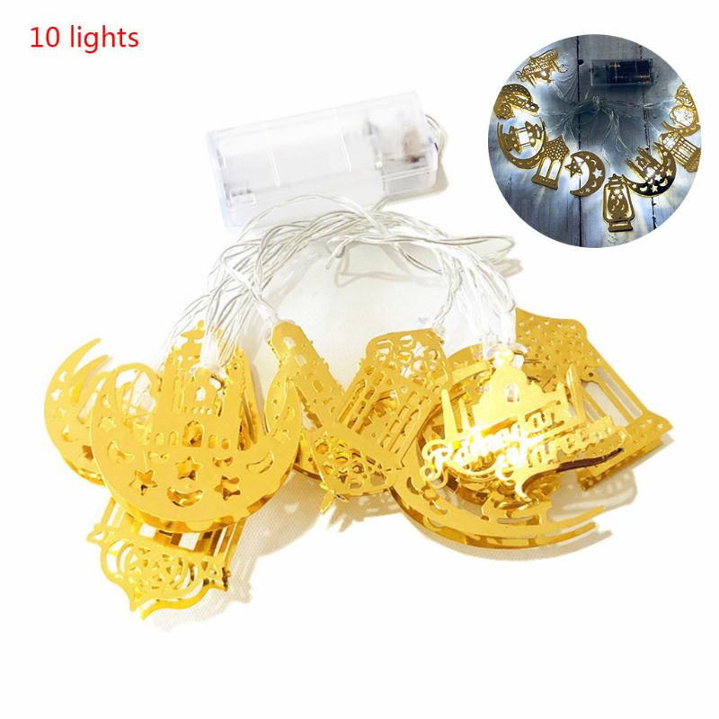 Eid Mubarak Element Handmade Wire Light String 10 LED Light Eid Ramadan Islamic K1KC