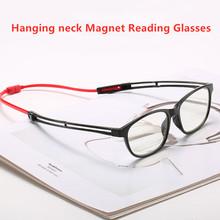 Przenośne magnetyczne okulary do czytania z szyjką wiszące okulary do czytania z magnesem dla mężczyzn i kobiet tanie tanio GIAUSA Unisex Jasne polaryzacyjne Hanging neck Magnet Reading Glasses Z poliwęglanu 5 6cm Z tworzywa sztucznego foldable Magnetic Reading Glasses