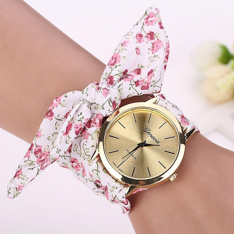 Fashion Beauty Women Girl Watch Floral Printed Jacquard Cloth Strap Ladies Clock Quartz Dial Bracelet Wristwatch Watches Reloj
