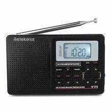 V111 pełnozakresowe Radio FM Stereo/MW/SW DSP odbiornik krótkofalarski z zegarem radiowym Radio przenośne