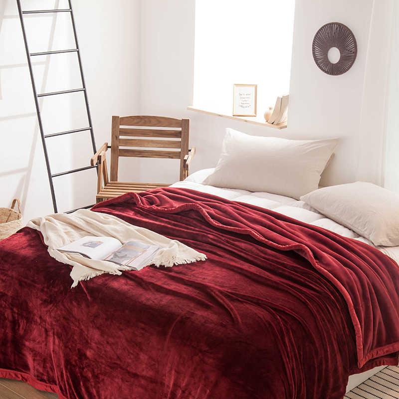 Rouge polaire couvertures et jetés Adulte Épais hiver Chaud Couvertures Super Doux couette Couvertures de luxe double reine roi couvertures