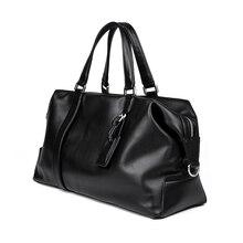 Genuine Leather Travel Bag European Style Design Cowhide Women Men Weekend Handbag 6007A