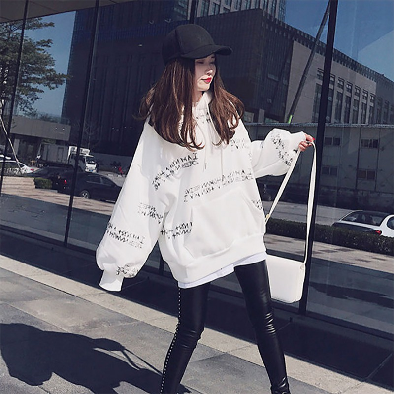 Autumn Oversize Fashion Letter Print Women Hoodies Loose Casual Long-sleeved Thick Pullover