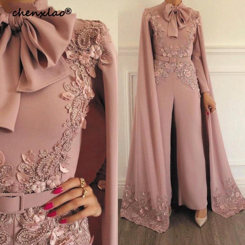 New Arrival Jumpsuit Rompers for Women Dusty Lace Appliques Evening Pants Dubai Arabic Evening Dress 2019 Party Evening gown