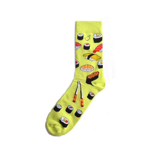 Hot Fashion Men's Long Socks Harajuku Hip Hop Funny Cherry Banana Sushi Pattern Cool Colorful Dress Socks for Male Wedding Gifts 6