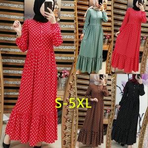 Image 2 - Imprimer Dot grande taille Maxi robes femmes dubaï arabe musulman volants pli longue robe Islam Abaya Ramadan islamique vêtements S 5XL
