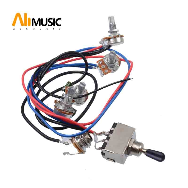 1 Set Wiring Harness Prewired 2v2t 3 Way Toggle Switch Jack 500k Pots For Gibson Replacement Guitar Guitar Parts Accessories Aliexpress