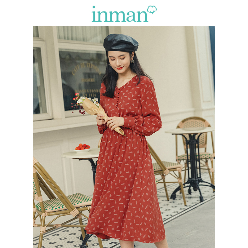 INMAN 2019 Autumn New Arrival Young Literary Style Elegant V-neck Retro Mushroon Button Defined Waist A-line Women Shiffon Dress