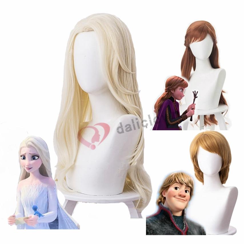 Froz 2 Elsa Cosplay Costume Wigs Anna Kristoff Men And Women Wigs Snow Queen Princess Hair Halloween Costume Wig Accessories