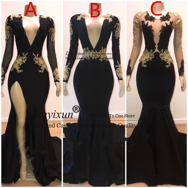2020 Prom Dresses Mermaid Sexy Gold Lace Applique V-Neck Long Sleeves Illusion High Side Split Sweep Train Elegant Evening Gowns