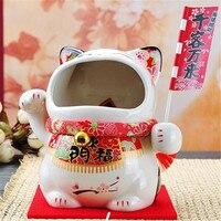 7 Polegada cerâmica maneki neko caixa de doces boca grande gato sorte caixa de dinheiro mealheiro fortuna gato armazenamento lanche jar m4317