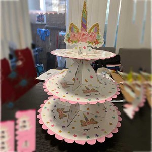 Image 5 - Birthday Party Decoration Rainbow Unicorn 3 tier Paper Cake Stand Baby Shower Unicornio Party Paper plates cup Balloon Supplies