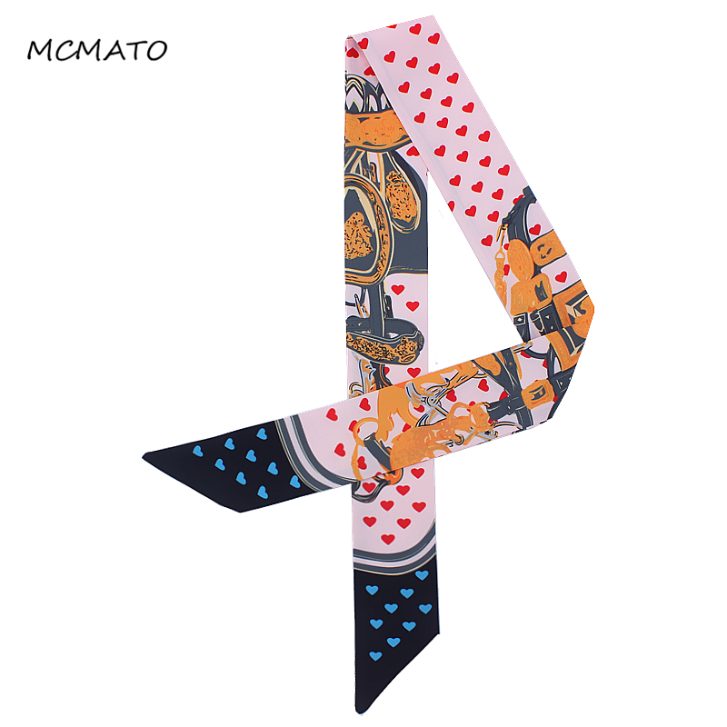 New Design Scarf Small Heart Print Women Silk Scarf Fashion Head Scarf Brand Handle Bag Ribbons Small Long Scarves Accessories