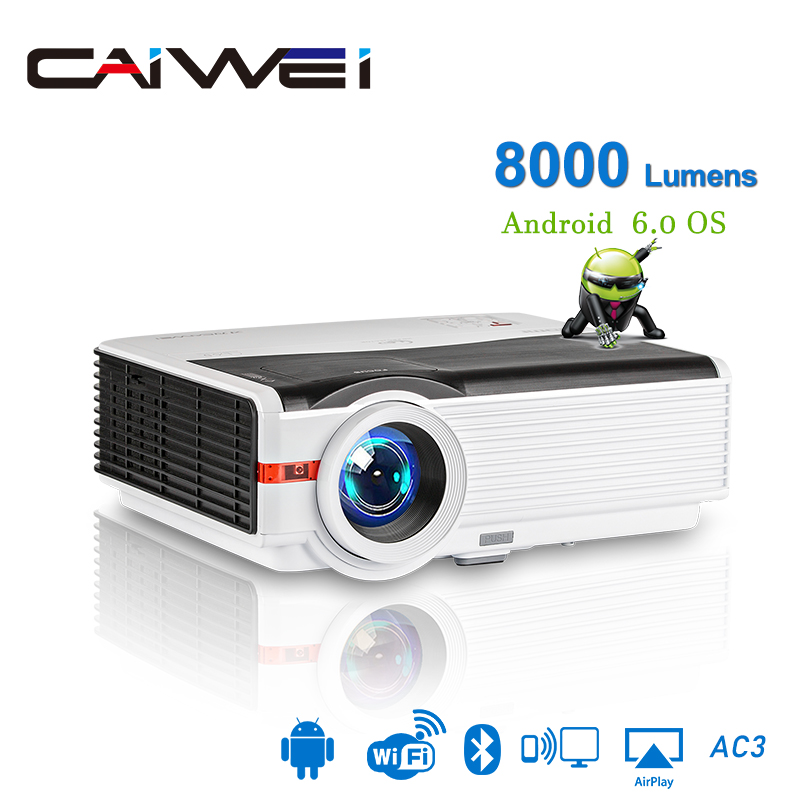Caiwei a9/a9ab smart android wifi lcd led 1080p projetor casa cinema 8000 lumens vídeo hd completo móvel beamer para smartphone tv
