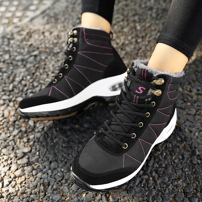 Winter Shoes Woman Snow Boots Warm Fur Plush Insole Boots Flock Ankle Boots Women Shoes Lace-up Lightweight Sneakers Women 15