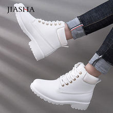 Women winter boots 2019 fashion leather lace-up winter shoes women boots warm fur plush flat heel ankle snow boots women shoes(China)