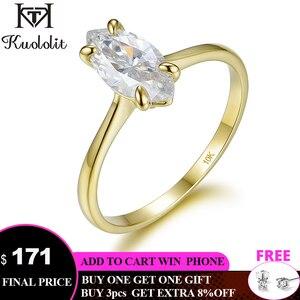 Image 1 - Kuololit 100% טבעי המרקיזה Moissanite 10K צהוב זהב טבעות לנשים סוליטייר טבעת עבור מבטיחים יום נישואים מתנה בשבילה