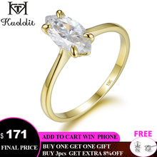 Kuololit 100% Natural marquise Moissanite 10K Yellow gold Rings for Women Solitaire ring for promise Anniversary gift for her