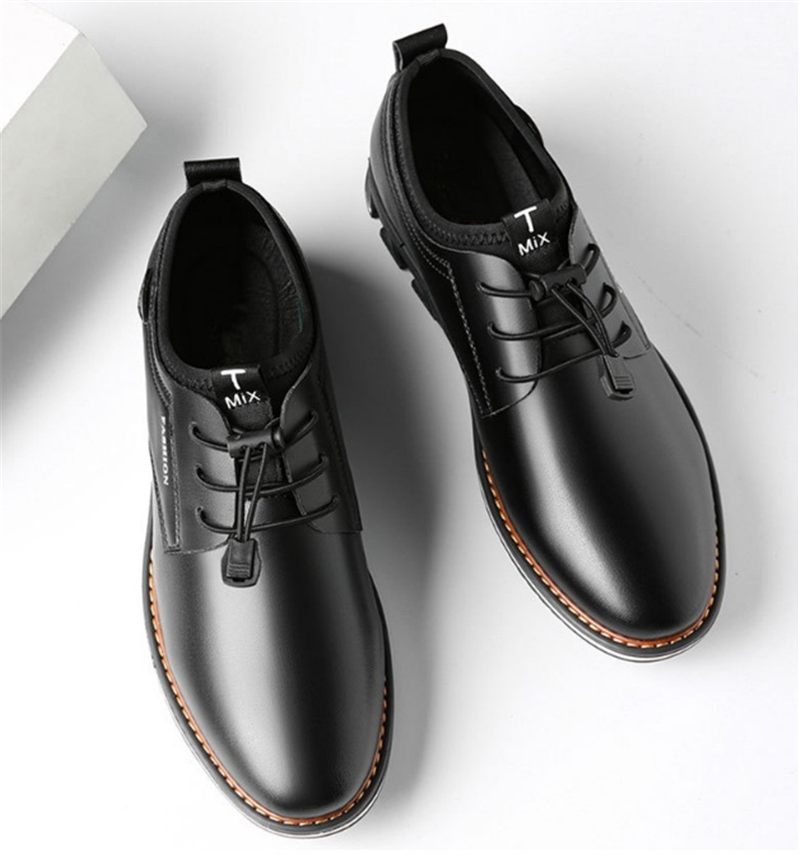 Newest Luxury Pointed Toe Casual Leather Shoes Men's Fashion Lace Up Business Dress Oxfords Solid Wedding Office Males Flats Man (8)
