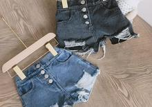 Boys' and girls' pants, washed jeans, torn shorts, hot pants, summer wear, new foreign trade children's clothing, 3-8 years old