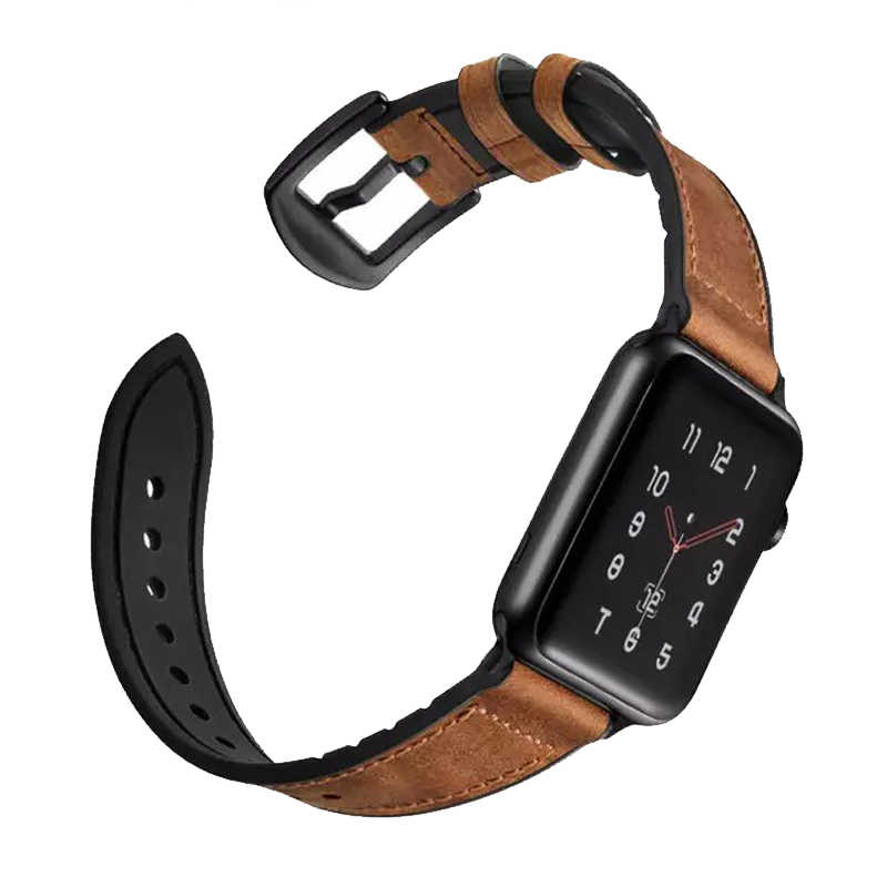 Correa para apple watch banda 4 5 44mm 40mm apple watch banda 42mm 38mm iwatch Correa 3/ 2/1 pulsera de silicona y cuero auténtico Vintage