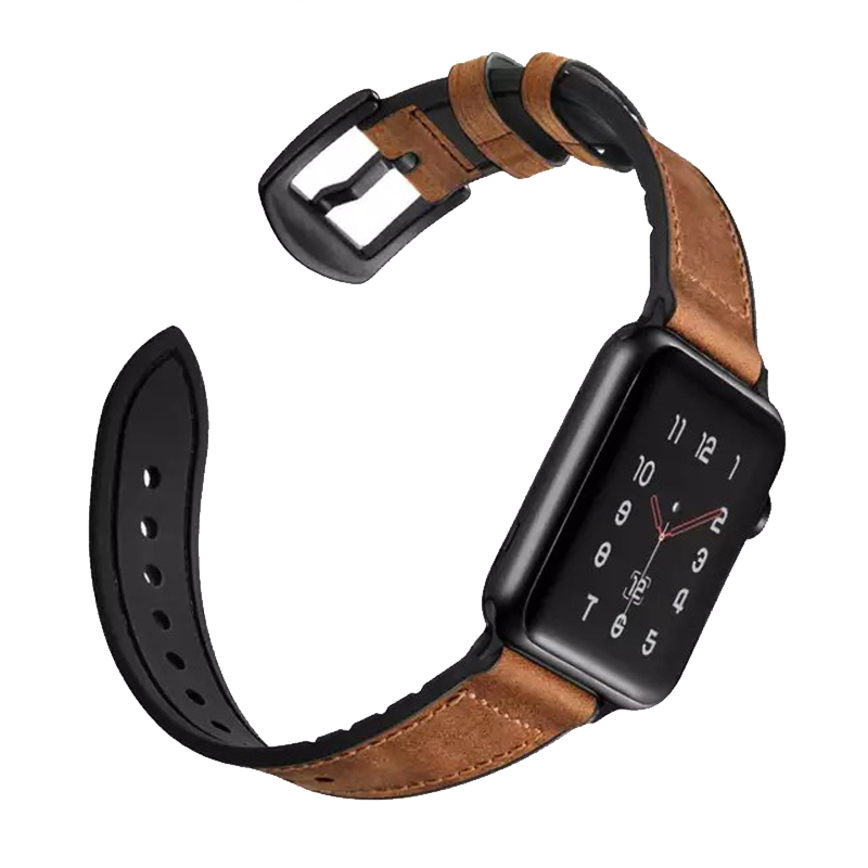 Strap For Apple Watch Band 4 5 44mm 40mm Apple Watch Band 42mm 38mm Iwatch Belt 3/2/1 Silicone&Vintage Genuine Leather Bracelet