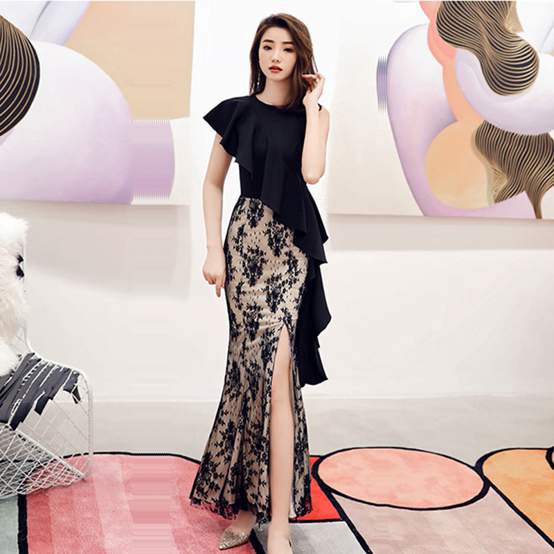 Evening Dress Short Sleeve Elegant Women Party Dresses 2019 Sexy Split Zipper Robe De Soiree O-neck Ruffles Formal Gowns F147