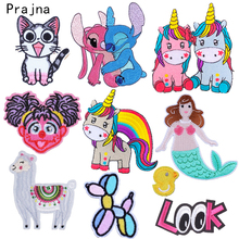 Prajna Cartoon Patch Iron on Patches Embroidery Unicorn Cats Appliques for Kids Clothes DIY Stripes Stickers Cute Badge T-shirt
