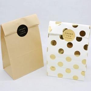 Пакет из крафт-бумаги, вечерние пакеты для конфет, печенья, хлеба, орехов, пакет для печенья, закусок, упаковка для выпечки 4 шт./лот