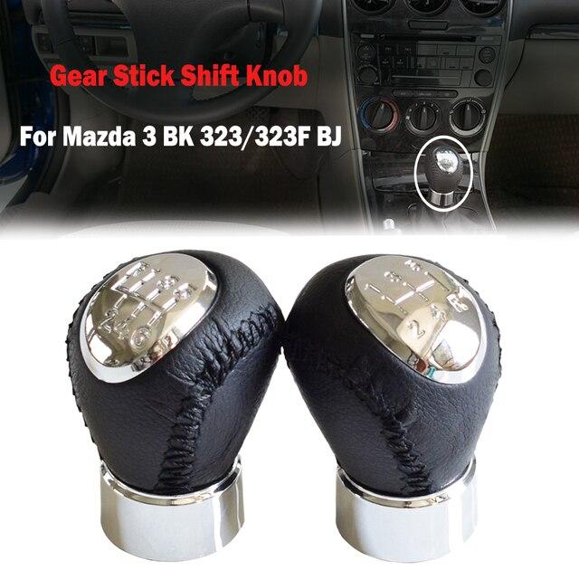 หนังสีดำChrome 5/6ความเร็วเกียร์ธรรมดาเกียร์Shift KnobสำหรับMAZDA 626 GF/GW 1997 2002เปลี่ยนLever Knob