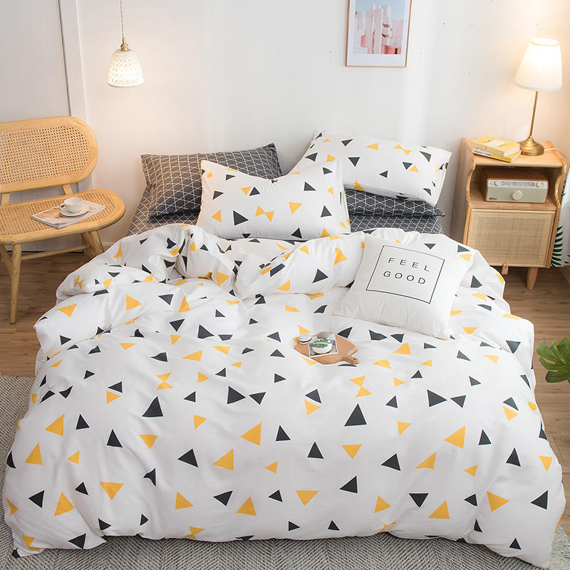 White Five-pointed Star Print Duvet Cover Set 100% Pure Cotton Bed Sheet For Children/Adults Pillow Cases 3/4pcs Bedding Set
