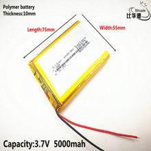 Frete grátis 1 pçs/lote 105575 bateria de polímero de lítio 3.7 V 5000 mah DIY tesouro carga de energia móvel de emergência bateria