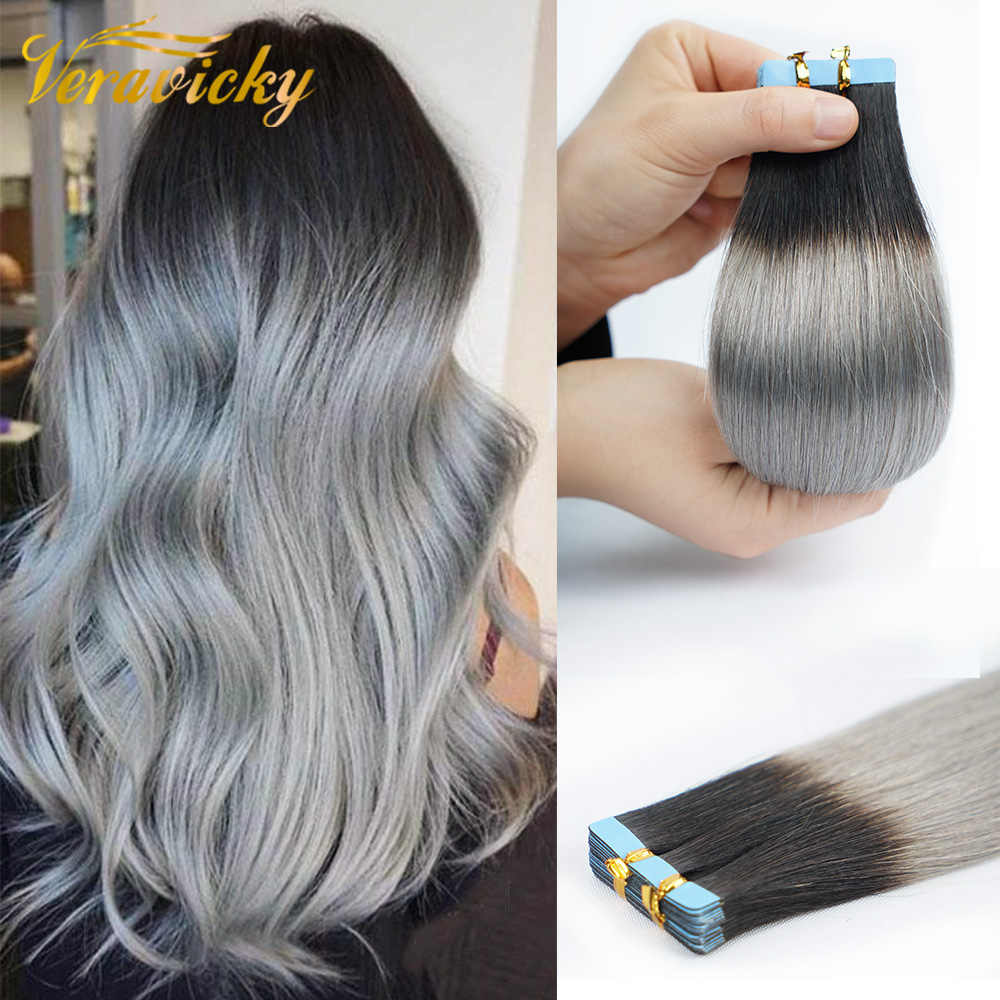 Veravicky Balayage Ombre Tape in Extensions Human Hair Machine  Remy Skin Weft Natural Hair Extensions Tape on
