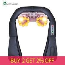 цена на JinKaiRui Electrical Neck Shoulder Back Body Massager Shiatsu Kneading Massage Pillow with Heat Car Home with Original Box